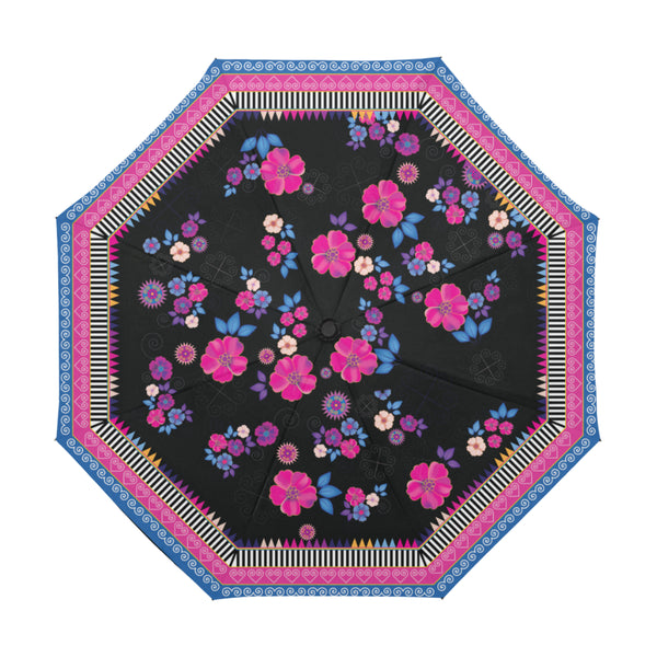 Floral & Black Hmong Umbrella