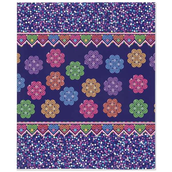 Hmong Cog Ci Faux Sequin Minky Fleece Blanket