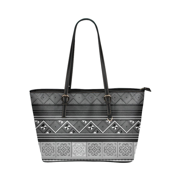 Large Black Hmong Vegan Leather Tote Bag