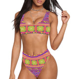 Pink Yellow Hmong Print 2pc Swimsuit Sport Top & High-Waisted Bikini Swimsuit