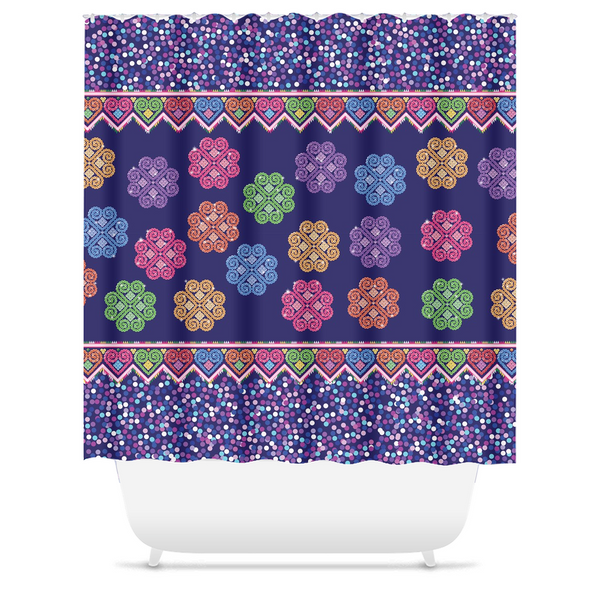 Hmong Cog Ci Faux Sequin Shower Curtain