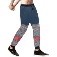Men's Blue & Orange Hmong Batik Jogging Pants