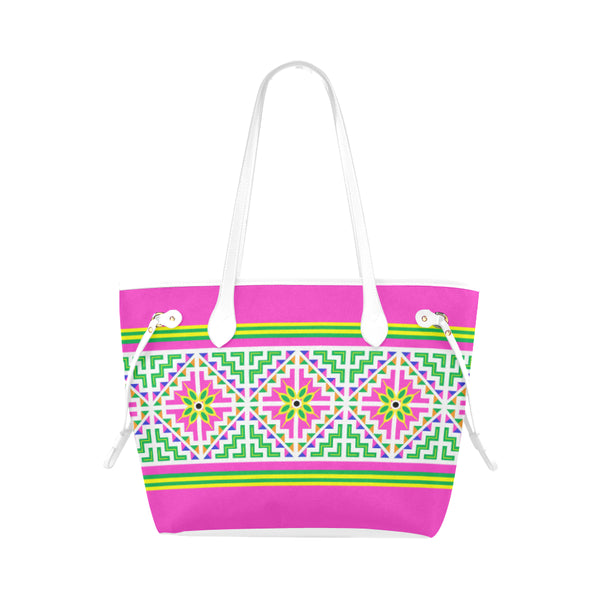 Pink & White Hmong Printed Pattern Tote Bag