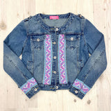 Denim Jean Jacket with Blue Hmong Embroidered Detail