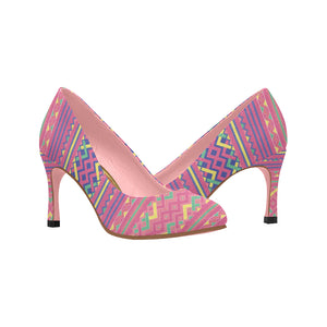 Pink Hmong Printed Pattern High Heels