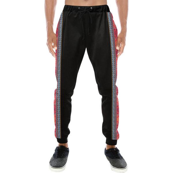 Men's Black & Orange Hmong Batik Jogging Pants
