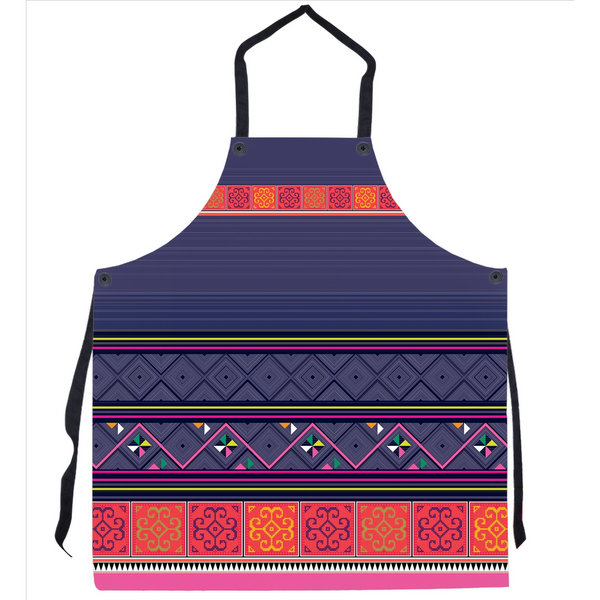 Blue, Orange & Pink Hmong Printed Apron