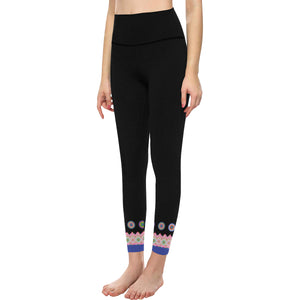 High-Waisted Black Yoga Leggings with Printed Hmong Trim