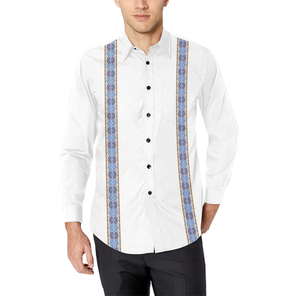 Men's White Hmong Elephant Foot Print Motif Dress Shirt