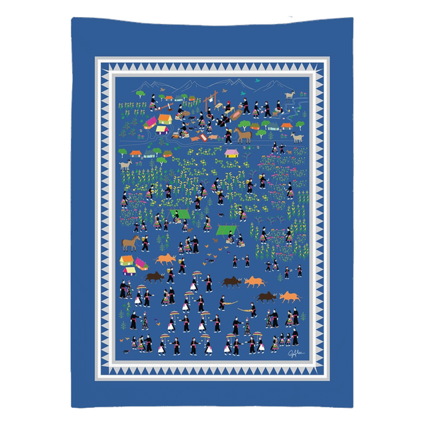 Hmong Everyday Life in Laos Illustrated Story Cloth Tapestry