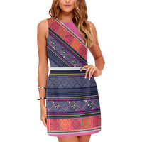 Blue Purple Hmong Print Pattern Sleeveless Dress