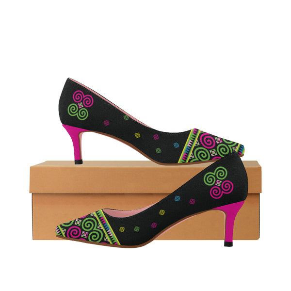 Women's Black Green & Pink Hmong Festive Pointed Toe Heels