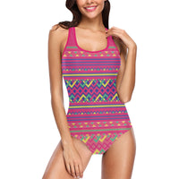 Pink Hmong Print Pattern Swimsuit