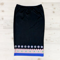 Black Pencil Skirt with Blue Hmong Trim