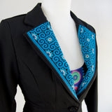 Black Blazer Jacket with Blue Hmong Embroidered Detail