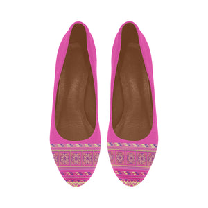 Rose Pink High Heels with Hmong Flower Cross Stitch Printed Pattern