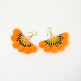 Pom Pom Hmong Star Fan Earrings
