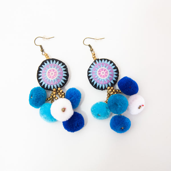 Hmong Star with Pom Pom Drop Earrings