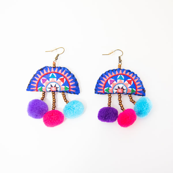 Hmong Star Fan with Pom Pom Drop Earrings