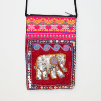 Hmong Thai Pattern Bag with Sequin Elephant Detail