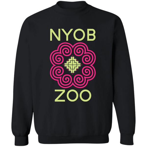 Black Sweatshirt with Nyob Zoo Hmong Graphic