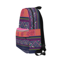 Blue & Pink Hmong Printed Tribal Waterproof Backpack