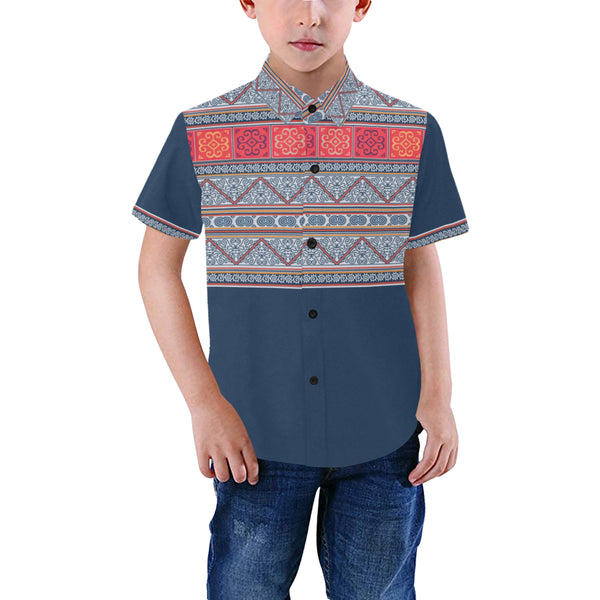 Boys Blue Hmong Batik Printed Short Sleeve Dress Shirt Boys' All Over Print Short Sleeve Shirt (Model T59)