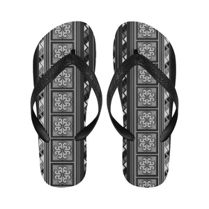 Black Hmong Cross Stitch Pattern Unisex Flip Flops for Men or Women