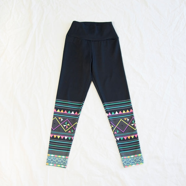 Girl's Black & Green Hmong Pattern Yoga Leggings