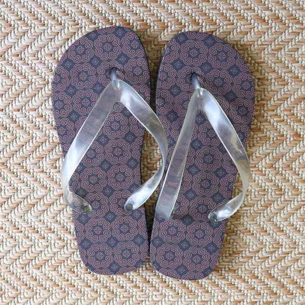 Women's Brown Hmong Printed Pattern Flip Flops
