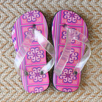 Girl's Hmong Cross Stitch Pattern Flip Flops