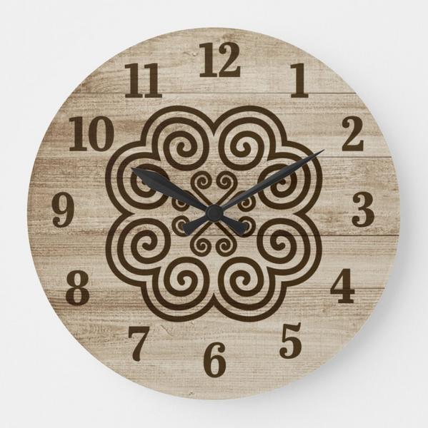 Rustic Farm House Wood Grain Round Wall Clock with Hmong Design
