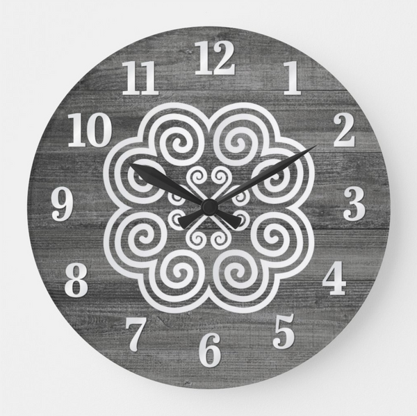 Gray Farm House Wood Grain Round Wall Clock with Hmong Design