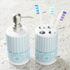 Blue Hmong Toothbrush Holder and Soap Dispenser Set