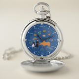 Silver Pocket Watch with Hmong Story Cloth Art