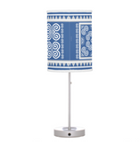 Blue & White Table Lamp with Hmong Patterns