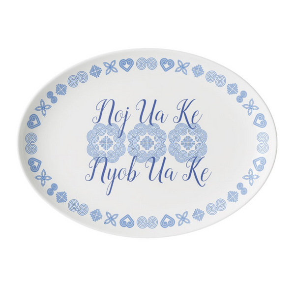 White Porcelain Hmong Platter Dish with Blue Pattern