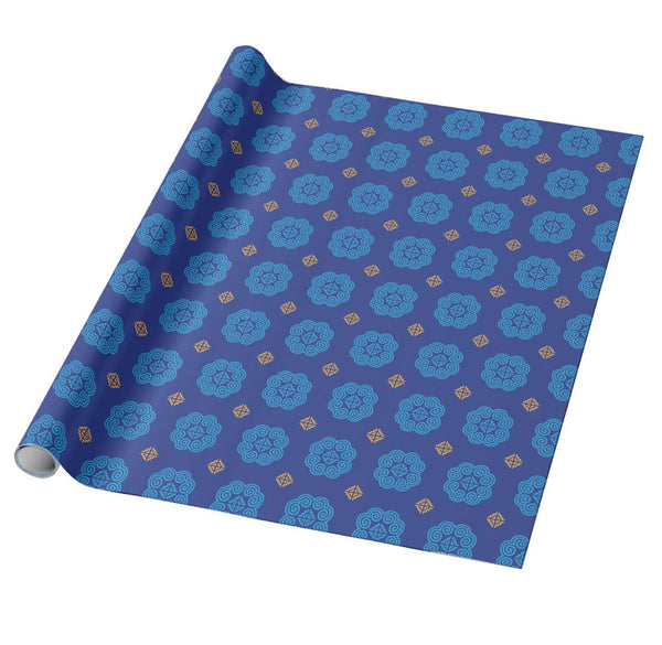 Blue & Gold Christmas Gift Wrapping Paper - Hmong Motif