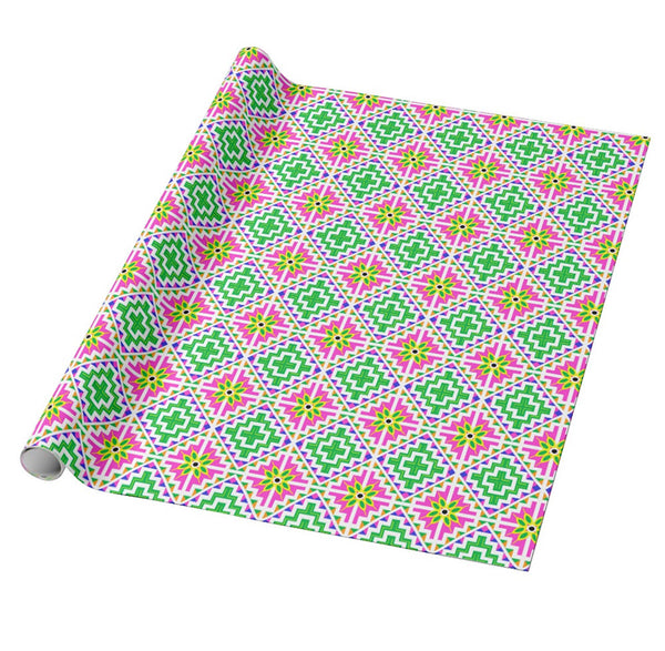 Pink & Green Christmas Gift Wrapping Paper - Hmong House Motif