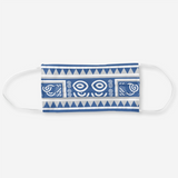 Reusable Cloth Face Mask with Blue & White Hmong Elephant Motif Print