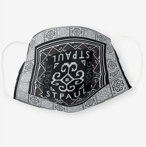 Reusable Cloth Face Mask - Black & White St Paul Strong Hmong Tribal Print