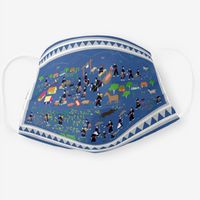 Reusable Cloth Face Mask with Hmong Story Cloth Paj Ntaub Illustration