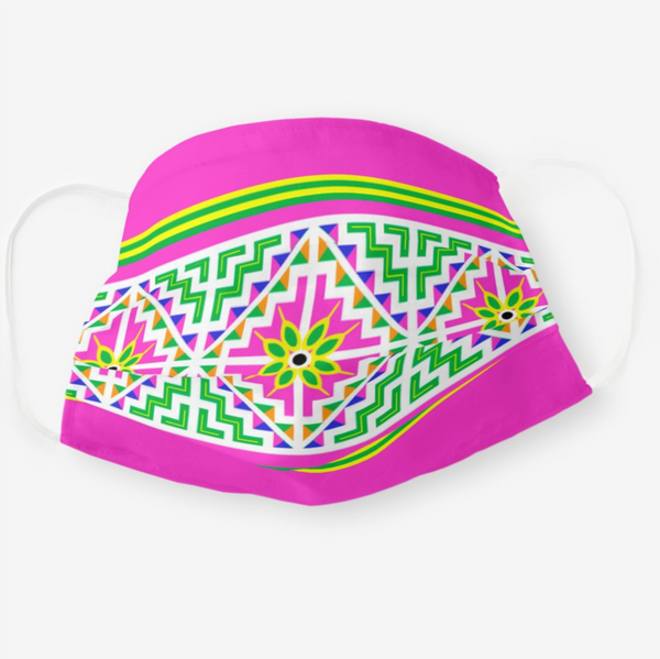 Reusable Cloth Face Mask with Pink Hmong Pattern
