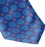 Men's Blue w/ Gold Accents Hmong Elephant Foot Print Neck Tie