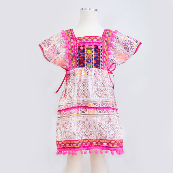 Girl's Hmong Thai Batik Printed Canvas Dress