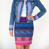 Purple & Blue Printed Hmong Pattern Pencil Skirt