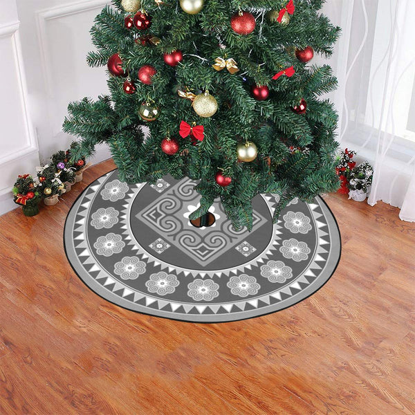 "Grey Hmong Inspired Christmas Tree Skirt Christmas Tree Skirt 47"" x 47"""