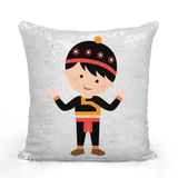 Hmong Girl Sequin Throw Pillow Cover