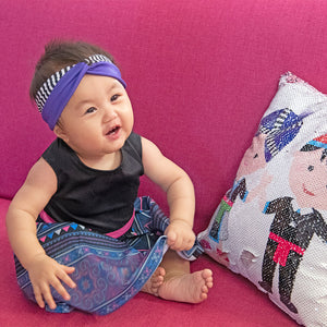 Hmong Purple & Stripe Turban Twist Headband
