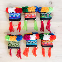 Hmong Thai Pattern Bag with Pom Pom and Tassels